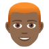 👨🏾🦰 man: medium-dark skin tone, red hair Emoji on Joypixels Platform