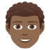 👨🏾🦱 Medium Dark Skin Tone Curly Hair Man Emoji on JoyPixels Platform