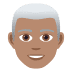 👨🏽‍🦳 man: medium skin tone, white hair Emoji on Joypixels Platform