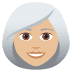 👩🏼‍🦳 woman: medium-light skin tone, white hair Emoji on Joypixels Platform