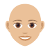 👩🏼‍🦲 woman: medium-light skin tone, bald Emoji on Joypixels Platform