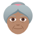 👵🏽 old woman: medium skin tone Emoji on Joypixels Platform