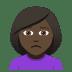 🙍🏿♀️ woman frowning: dark skin tone Emoji on Joypixels Platform