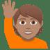 🙋🏽 person raising hand: medium skin tone Emoji on Joypixels Platform