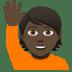 🙋🏿 person raising hand: dark skin tone Emoji on Joypixels Platform