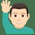🙋🏻♂️ man raising hand: light skin tone Emoji on Joypixels Platform