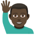 🙋🏿♂️ man raising hand: dark skin tone Emoji on Joypixels Platform