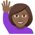 🙋🏾♀️ woman raising hand: medium-dark skin tone Emoji on Joypixels Platform