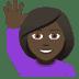 🙋🏿♀️ woman raising hand: dark skin tone Emoji on Joypixels Platform