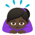 🙇🏿‍♀️ woman bowing: dark skin tone Emoji on Joypixels Platform