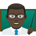 👨🏿🏫 man teacher: dark skin tone Emoji on Joypixels Platform