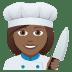 👩🏾🍳 woman cook: medium-dark skin tone Emoji on Joypixels Platform