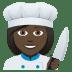 👩🏿🍳 woman cook: dark skin tone Emoji on Joypixels Platform
