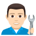 👨🏻🔧 Light Skin Tone Male Mechanic Emoji on JoyPixels Platform