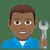 👨🏾🔧 man mechanic: medium-dark skin tone Emoji on Joypixels Platform