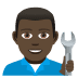👨🏿‍🔧 man mechanic: dark skin tone Emoji on Joypixels Platform