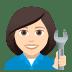👩🏻🔧 woman mechanic: light skin tone Emoji on Joypixels Platform