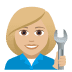👩🏼🔧 woman mechanic: medium-light skin tone Emoji on Joypixels Platform