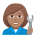 👩🏽‍🔧 woman mechanic: medium skin tone Emoji on Joypixels Platform