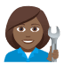 👩🏾‍🔧 woman mechanic: medium-dark skin tone Emoji on Joypixels Platform