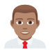 👨🏽‍💼 man office worker: medium skin tone Emoji on Joypixels Platform