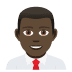 👨🏿‍💼 man office worker: dark skin tone Emoji on Joypixels Platform