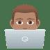 👨🏽💻 man technologist: medium skin tone Emoji on Joypixels Platform
