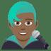 👨🏾🎤 man singer: medium-dark skin tone Emoji on Joypixels Platform