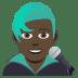 👨🏿🎤 Dark Skin Tone Male Singer Emoji on JoyPixels Platform