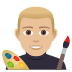 👨🏼‍🎨 man artist: medium-light skin tone Emoji on Joypixels Platform