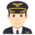 👨🏻‍✈️ man pilot: light skin tone Emoji on Joypixels Platform