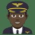 👨🏿✈️ man pilot: dark skin tone Emoji on Joypixels Platform