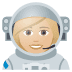 👩🏼‍🚀 woman astronaut: medium-light skin tone Emoji on Joypixels Platform