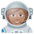 👩🏽‍🚀 woman astronaut: medium skin tone Emoji on Joypixels Platform