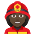 👩🏿‍🚒 woman firefighter: dark skin tone Emoji on Joypixels Platform