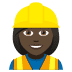 👷🏿‍♀️ woman construction worker: dark skin tone Emoji on Joypixels Platform