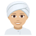 👳🏼‍♀️ woman wearing turban: medium-light skin tone Emoji on Joypixels Platform