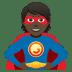 🦸🏿 superhero: dark skin tone Emoji on Joypixels Platform