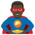 🦸🏿‍♂️ man superhero: dark skin tone Emoji on Joypixels Platform