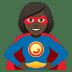 🦸🏿♀️ woman superhero: dark skin tone Emoji on Joypixels Platform