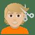 💇🏼 person getting haircut: medium-light skin tone Emoji on Joypixels Platform