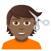 💇🏾 person getting haircut: medium-dark skin tone Emoji on Joypixels Platform