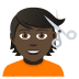 💇🏿 person getting haircut: dark skin tone Emoji on Joypixels Platform