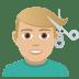 💇🏼♂️ Medium Light Skin Tone Man Getting Haircut Emoji on JoyPixels Platform