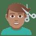 💇🏽♂️ man getting haircut: medium skin tone Emoji on Joypixels Platform
