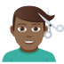 💇🏾‍♂️ man getting haircut: medium-dark skin tone Emoji on Joypixels Platform