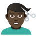 💇🏿‍♂️ man getting haircut: dark skin tone Emoji on Joypixels Platform