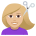 💇🏼♀️ woman getting haircut: medium-light skin tone Emoji on Joypixels Platform