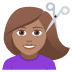 💇🏽‍♀️ woman getting haircut: medium skin tone Emoji on Joypixels Platform