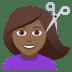 💇🏾♀️ woman getting haircut: medium-dark skin tone Emoji on Joypixels Platform